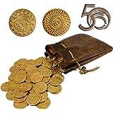 Byhoo Lot de 50 pièces d'Or en métal Donjons et Dragons et Une Pochette en Cuir, Accessoire Fantastique, rétro et médiéval po