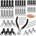 85 Stuks Rits Reparatie Kit Rits Slider Vervanging Metalen Pull Tabs Zip Fixer Onderdelen met Rits Tang voor Reparatie Jeans