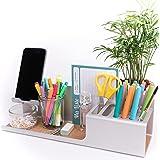 WHINAT - Organiseur de bureau design & aluminium anodisé gris - Avec support telephone portable _ Pot crayon / Vide poche - S