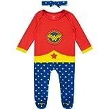 Wonder Woman Baby Girls Sleepsuit and Headband Set