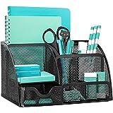OKPOW Mesh Desk Organiser,Multi-Use Desk Tidy & Pen Holder with 6 storage and 1 Slide Drawer,Stationary Organiser for School,