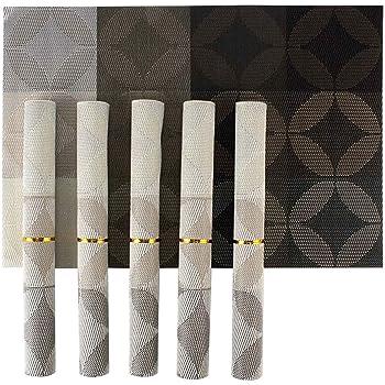 HOKIPO® PVC Dining Table Kitchen Placemats, 45 x 30 cm, 6 Pieces, 1 Set