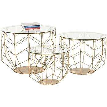 Kare Design Couchtisch Wire Grid Brass 3er Set Beistelltisch