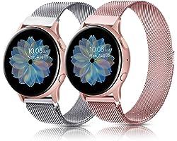 Oumida 2 PCS Bracelet Compatible avec Samsung Galaxy Watch Active2/Active, 20mm Bracelet en Acier Inoxydable pour Samsung Gal