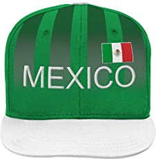 World Cup Soccer Mexico Boys Jersey Hook Flag Snapback with Adjustable Snap Closure, Dark Green, One Size