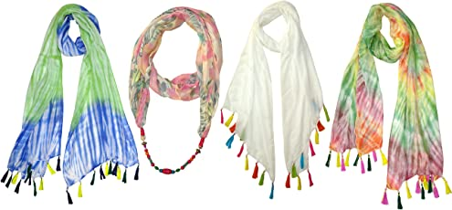 ICEART Women's Viscose Scarf - Pack of 4(7683-7684-7685, Pink, Off White and Turquoise, Free Size)