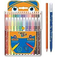 BIC Kids Kit de Coloriage - 18 Crayons de Couleur/12 Feutres, Etui Plastique de 30