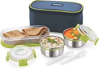 Magnus Lunch Box With Clip Lock, Leak Proof Containers & Bag, Stainless Steel, 3 Pcs Set