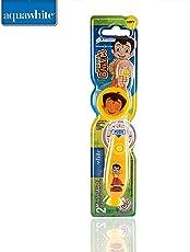 aquawhite Chhota Bheem Kids Timer Flash Light Toothbrush with Hygiene Cap Yellow (Waterproof & Inbuilt Battery),Health & Personal Care