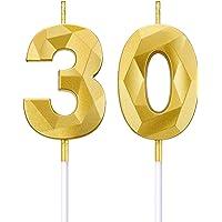 BBTO Bougies de Numéro de 30e Anniversaire 3D Bougies de Gâteau en Forme de Diamant Décoration de Gâteau Topper de…