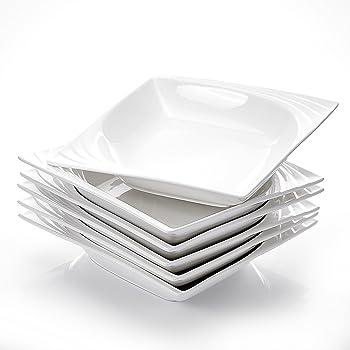 MALACASA, Série Monica, 6pcs Assiettes Creuses Porcelaine, Assiettes à Soupe Pâte Vaisselles pour 6 Personnes
