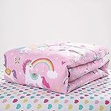 NISHOMES Micro Fleece Rainbow Unicorn Bed-in-a-Bag Coordinated Comforter, Pink, (53x80 Inches, Medium)