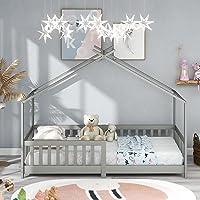 ModernLuxe Lit pour Enfant 90 x 200 cm, lit en Bois pour Enfants, avec Tableau, sommier à Lattes, Anti-Chute, en Bois de…