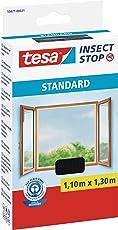 tesa Insect Stop STANDARD Fliegengitter für Fenster - Insektenschutz zuschneidbar - Mückenschutz ohne Bohren - Fliegen Netz anthrazit, 110 cm x 130 cm