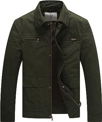 WenVen Men's Lapel Jacket Outdoor Windproof Jackets Casual Cotton Coat Classic Full-Zip Jacket