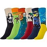 Joeyer Calcetines Estampados Hombre, 6 Para Pintura Famosa Medias Algodón Calcetín Colorido Diseño Divertido Hombre Transpira