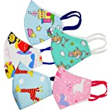 PRIVIU Cotton Face Mask For Kids (Pack of 5) | Age 3-6 Years | Washable | Multicolored | For Boys and Girls