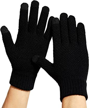 DOVAVA Mens Touchscreen Gloves Knit Thermal Winter Sports Gloves One Size Fit All Soft Lining Inside