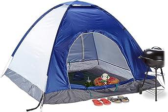 relaxdays Pop up Campingzelt, H x B x T: 135 x 200 x 200 cm, Wurfzelt, Wasserabweisend, Kleines Packmaß, UV 50+, Blau