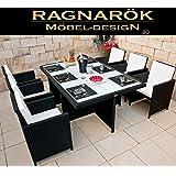 Ragnarök-Möbeldesign RAGNARÖK PolyRattan - DEUTSCHE Marke - EIGENE Produktion - 8 Jahre GARANTIE auf UV-Beständigkeit Gartenmöbel Essgruppe Tisch Stuhl Polster schwarz Rostfrei Aluminium