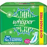 Whisper Ultra Clean Sanitary Pads for Women, XL+ 60 Pads (42+18 Pads Free)