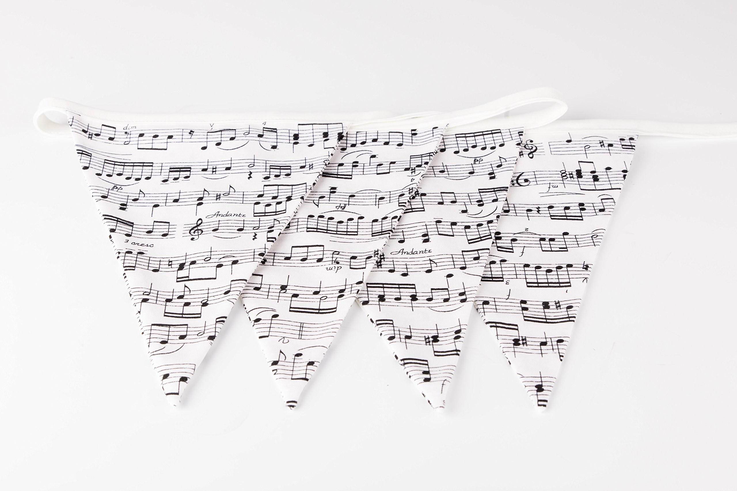 Musical Script Bunting, music gift, home deco, hanging decoration/garland. white and black musical notes, piano lovers gift!