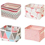 Mutsitaz Lot de 4 paniers de rangement en tissu avec poignées, pliables et imperméables, adaptés pour le rangement de bureau
