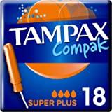 Tampax Compak Super+ Tampons with Applicator 18x, Leak Protection and Discretion, Feel Clean