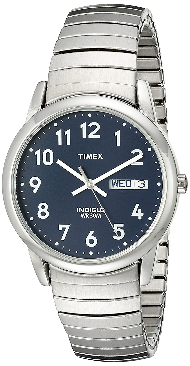 timex men s t20031 quartz easy reader watch blue dial timex men s t20031 quartz easy reader watch blue dial analogue display and silver stainless steel bracelet timex amazon co uk watches
