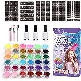 ISUDA 24 stor glitter tatuering tillfällig tatuering kit, färgglad