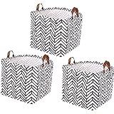 Lawei Lot de 3 Boîte de Rangement Pratique en Tissu Panier de Stockage pliable en toile avec motif géométrique pour la Maison