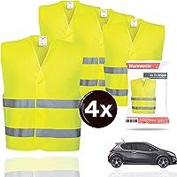 4X Warnwesten EN471 Pannenweste 2020 Unfallweste Pkw Sicherheitsweste Weste Neongelb reflektierend Auto, Pkw, LKW (4X…