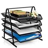 QUICK UNBOX 4 Tier Metal Mesh Document Tray File Rack for Office Desk Organizer Papers/Letters/Folders/Magazine Holder Storag