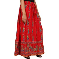 Home Shop Gfit red Rayon Staple Gold Printed Straight Skirt for Women (Free Size) Waistband: Elastic