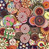 100 Piezas Botones De Madera Retro Redonda Botones Costura Colores Pintados 2 Agujeros Botones Decorativos para Coser Manuali