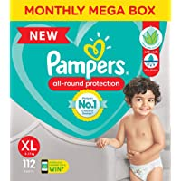 Pampers All round Protection Pants, Extra Large size baby diapers (XL), 112 Count, Anti Rash diapers, Lotion with Aloe…