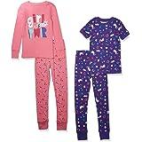 Spotted Zebra Snug-fit Cotton Pajamas Sleepwear Sets Niñas, Pack de 4