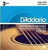 D'Addario EJ16-3D Corde en Bronze Phosphoreux pour Guitare Acoustique Light 3-Jeux Bronze