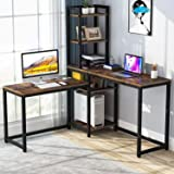 TEKAVO - L-Shaped Metal;Engineered Wood Study Desk; Gaming Desk (Matte Finish, Brown)