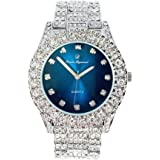 Bling-ed Out Round Metal Mens Royal Sapphire Blue Color on Blast Silver Watch - ST10327DXSilB