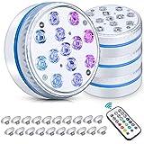 Pecosso Unterwasser Licht,13 Wasserdichtes LED-Tischleuchten mit Magnet, Saugnapf, Funkfernbedienung mit Timer, batteriebetri