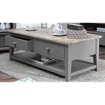 Superieur Florence Coffee Table With 2 Drawers And Shelf In DOVE GREY. Grey Coffee  Table With