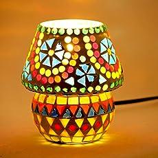 Brahmz Glass Table Lamp Mosaic Work Bead Design Table Decor Room Lamp