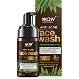 WOW Skin Science Anti Acne Foaming Face Wash - with Tea Tree Essential Oil - for Controlling Acne, Blackheads - No Parabens,