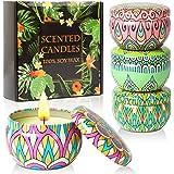 Pomarks Set regalo candele profumate,4 lattine di cera di soia naturale al 100% con oli essenziali per alleviare lo stress,4
