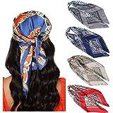 WELROG 4 Pack Foulard Capelli Donna - 90 * 90 cm bandane Sciarpa Quadrata Grande Sciarpa Di Seta Sciarpa Antimacchia Copricap