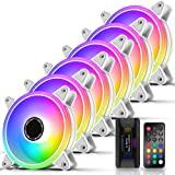 EZDIY-FAB Blanc Moonlight Ventilateur de boîtier RGB 120 mm avec concentrateur de Ventilateur Remote, Carte mère Aura Sync, V
