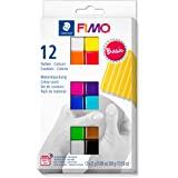 FIMO soft ovenhardende boetseerklei. Kartonnen etui met 12 gesorteerde basiskleuren.