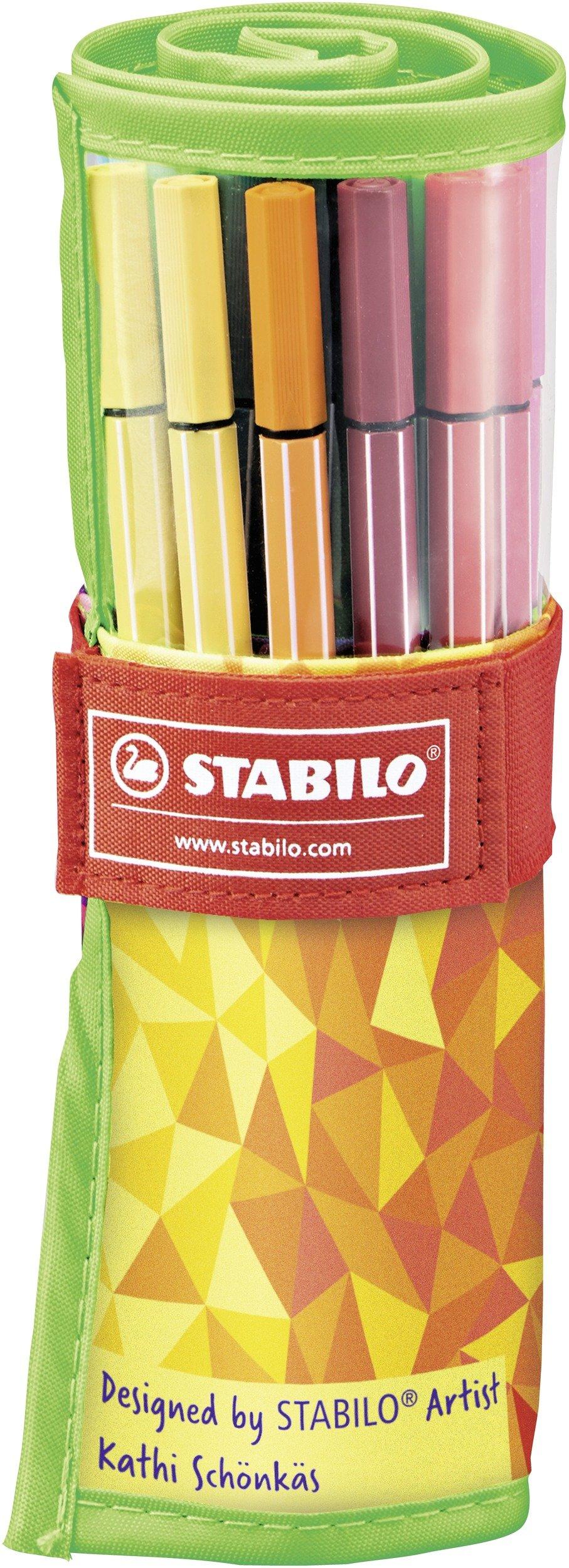 Rotulador STABILO Pen 68 – Estuche premium de tela Rollerset  Fan Edition con 25 colores