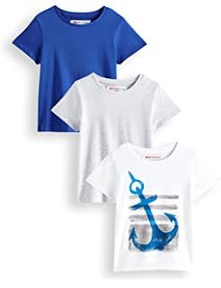 Blu Cherry 4 Pack Boys Girls Unisex Plain Cotton Blank UK Size Basic T Shirt Top Assorted Multi Pack Casual Relaxed